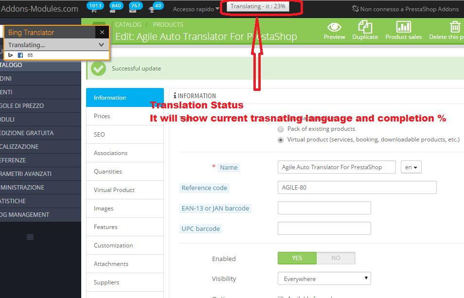 Editable multiple language translation status - current translating language and completion %