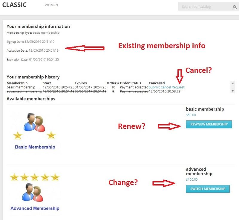 my membership page